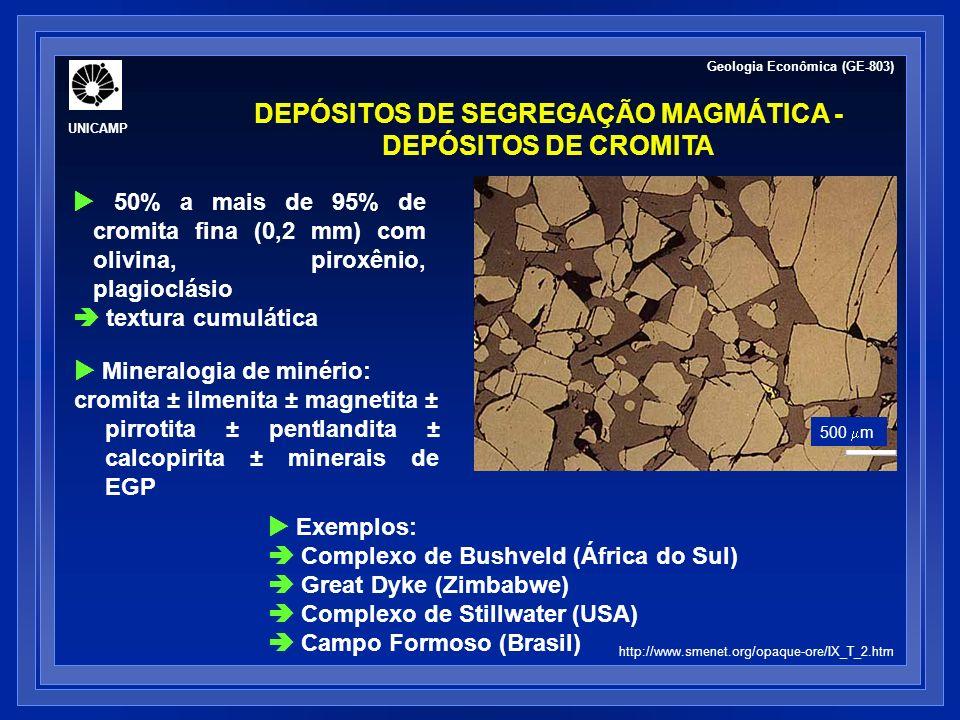 50% a mais de 95% de cromita fina (0,2 mm) com olivina, piroxênio, plagioclásio textura cumulática DEPÓSITOS DE SEGREGAÇÃO MAGMÁTICA - DEPÓSITOS DE CR