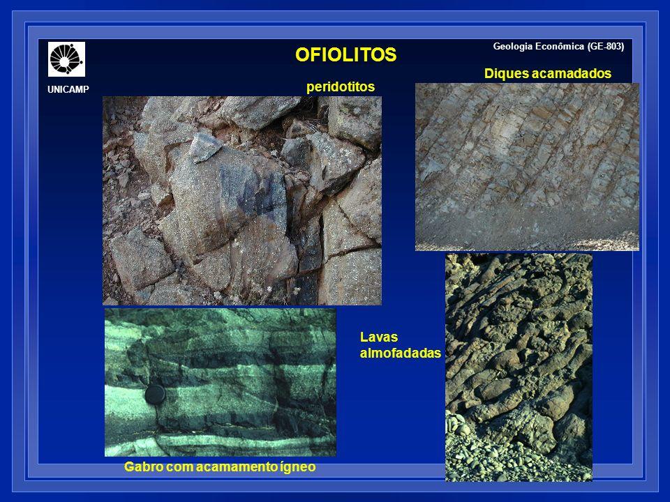 OFIOLITOS peridotitos Diques acamadados Gabro com acamamento ígneo Lavas almofadadas Geologia Econômica (GE-803) UNICAMP