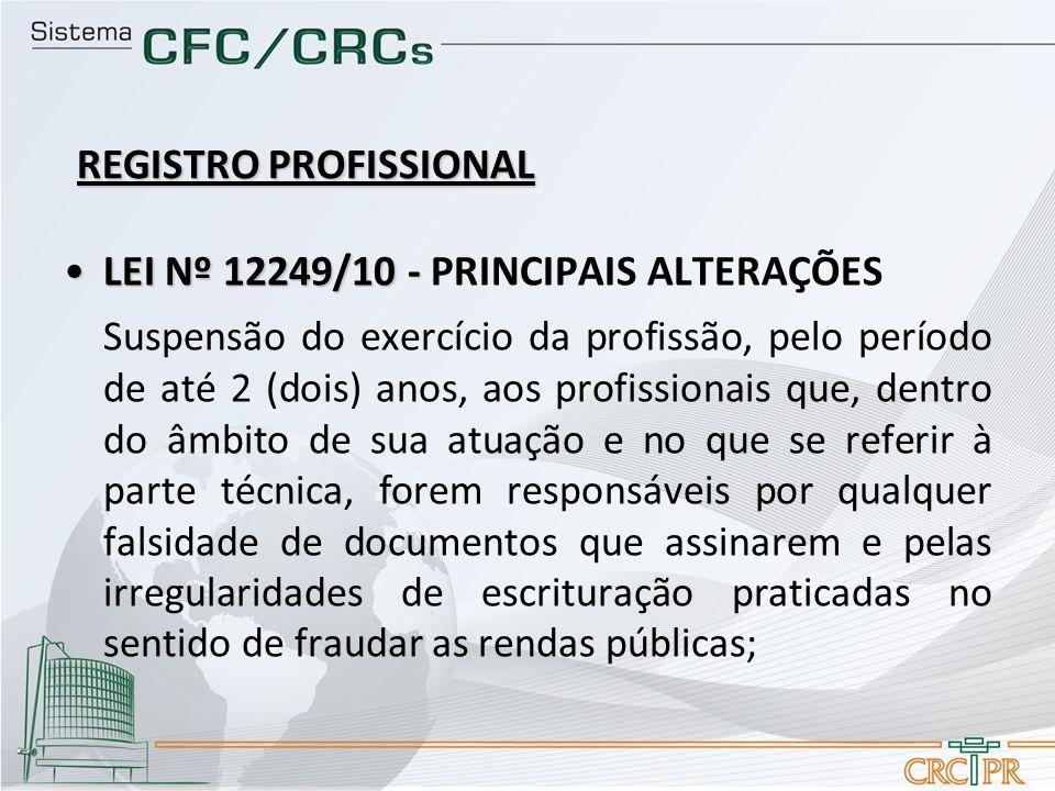 LEI Nº 12249/10 -LEI Nº 12249/10 - PRINCIPAIS ALTERAÇÕES Suspensão do exercício da profissão, pelo período de até 2 (dois) anos, aos profissionais que