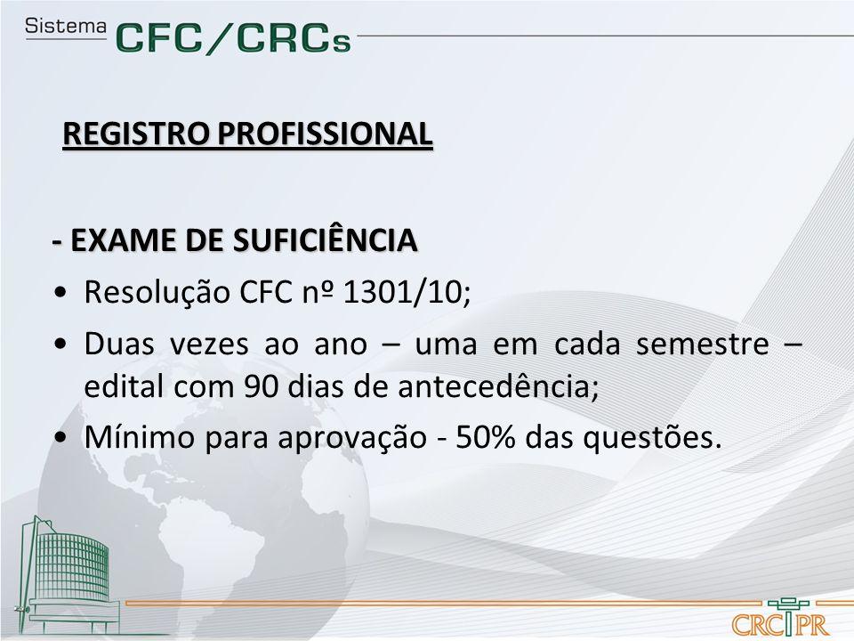 - EXAME DE SUFICIÊNCIA Resolução CFC nº 1301/10; Duas vezes ao ano – uma em cada semestre – edital com 90 dias de antecedência; Mínimo para aprovação