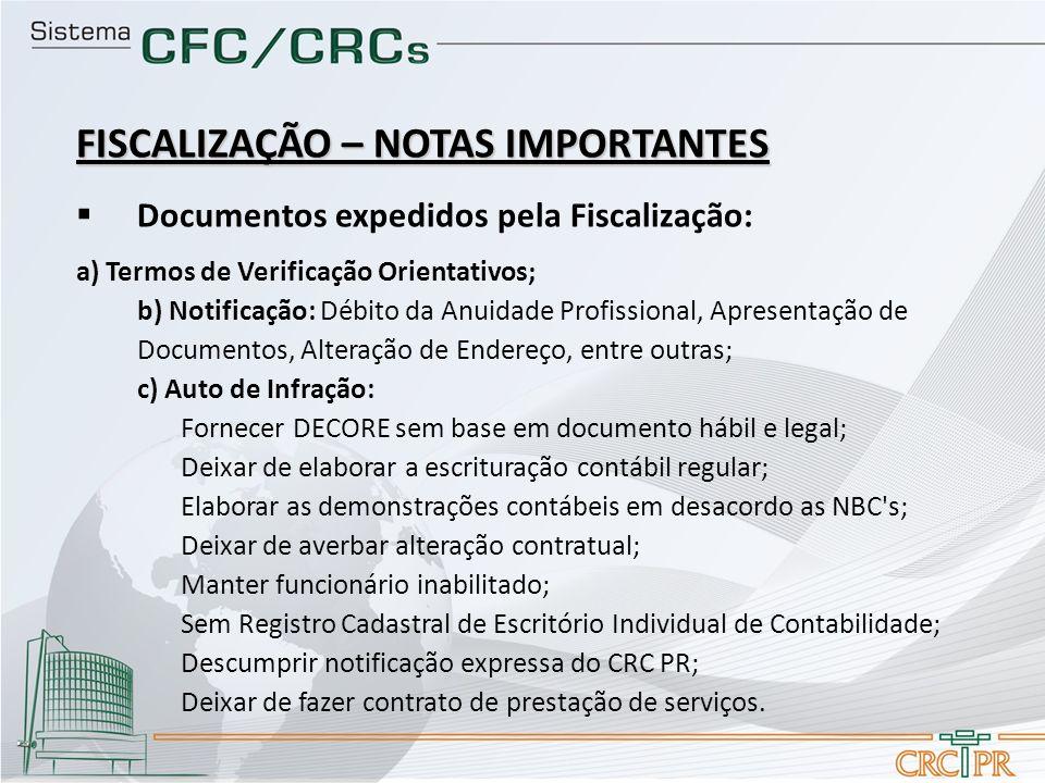 FISCALIZAÇÃO – NOTAS IMPORTANTES Documentos expedidos pela Fiscalização: a) Termos de Verificação Orientativos; b) Notificação: Débito da Anuidade Pro