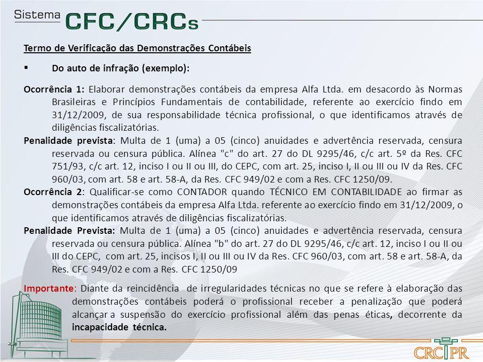 Termo de Verificação das Demonstrações Contábeis Do auto de infração (exemplo): Ocorrência 1: Elaborar demonstrações contábeis da empresa Alfa Ltda. e