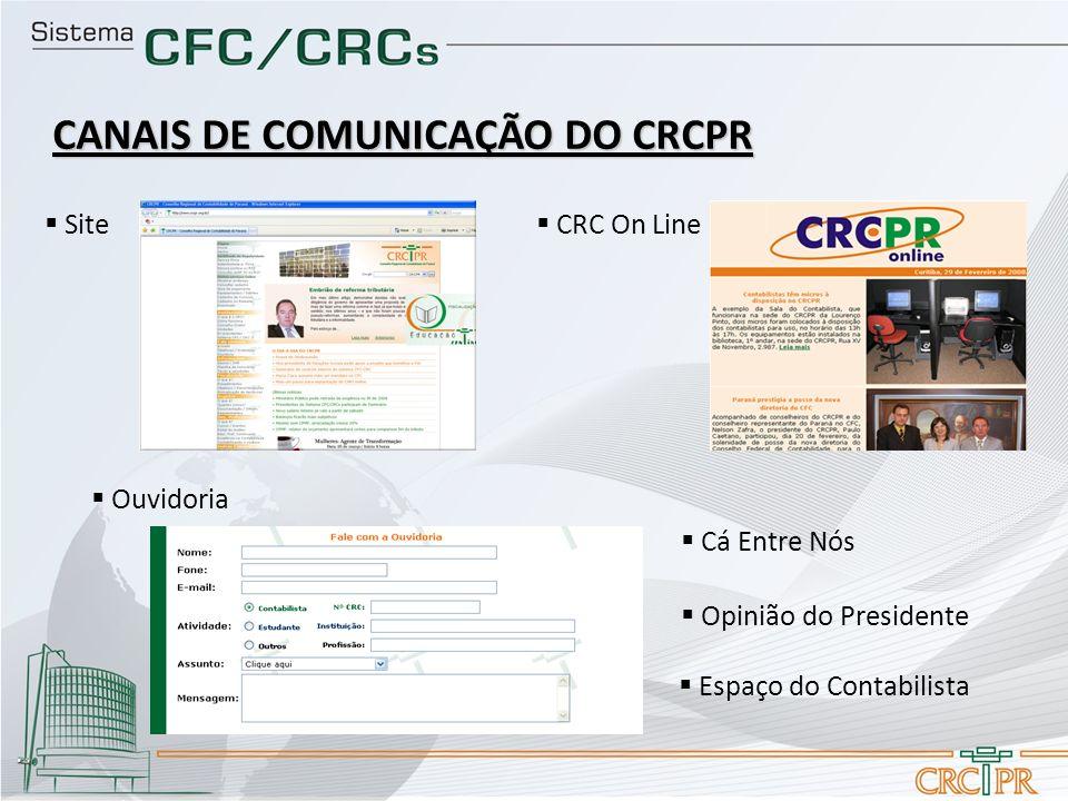 CANAIS DE COMUNICAÇÃO DO CRCPR Cá Entre Nós CRC On Line Site Ouvidoria Opinião do Presidente Espaço do Contabilista