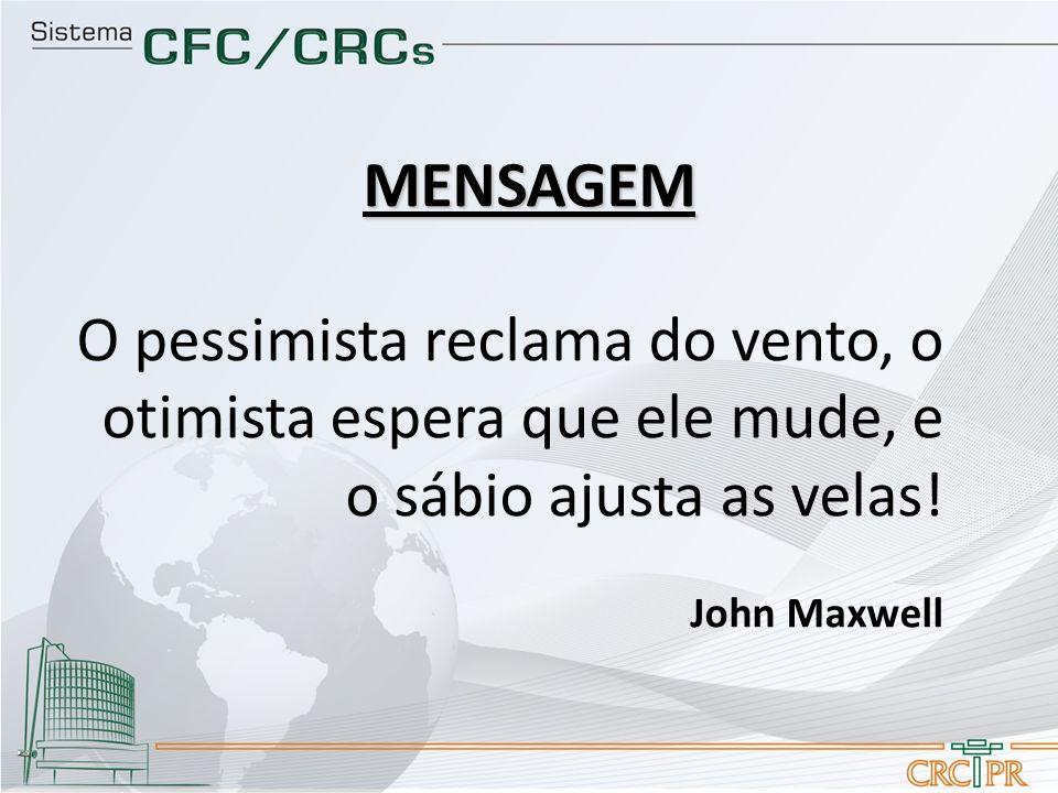 O pessimista reclama do vento, o otimista espera que ele mude, e o sábio ajusta as velas! John Maxwell MENSAGEM