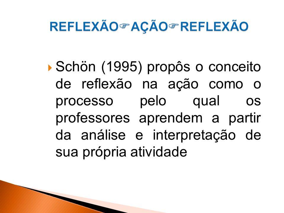 Schön (1995) propôs o conceito de reflexão na ação como o processo pelo qual os professores aprendem a partir da análise e interpretação de sua própria atividade