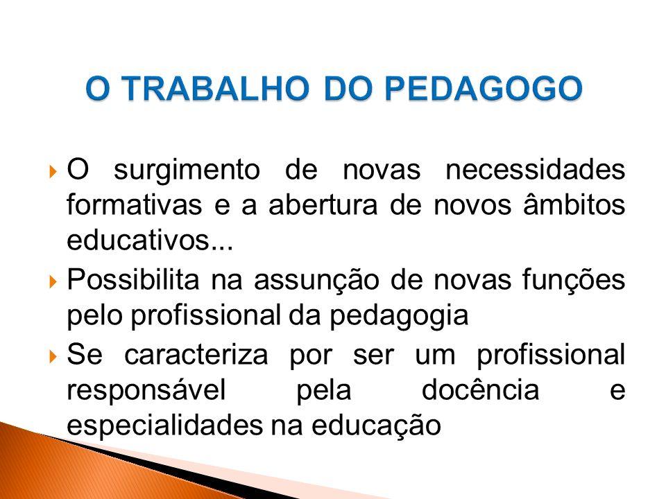 O surgimento de novas necessidades formativas e a abertura de novos âmbitos educativos...