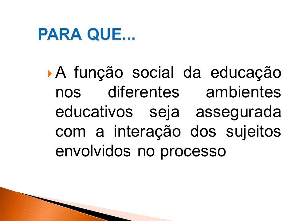 A função social da educação nos diferentes ambientes educativos seja assegurada com a interação dos sujeitos envolvidos no processo