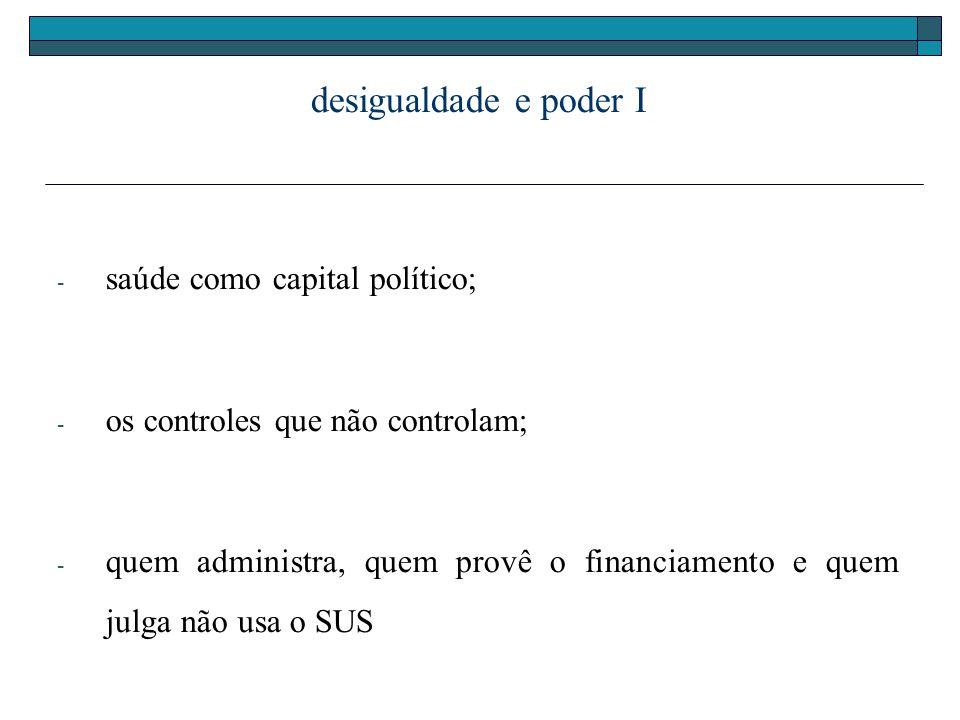 desigualdade e poder I - saúde como capital político; - os controles que não controlam; - quem administra, quem provê o financiamento e quem julga não