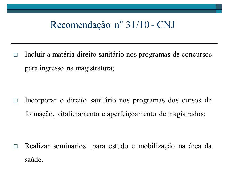 Recomendação n° 31/10 - CNJ Incluir a matéria direito sanitário nos programas de concursos para ingresso na magistratura; Incorporar o direito sanitár