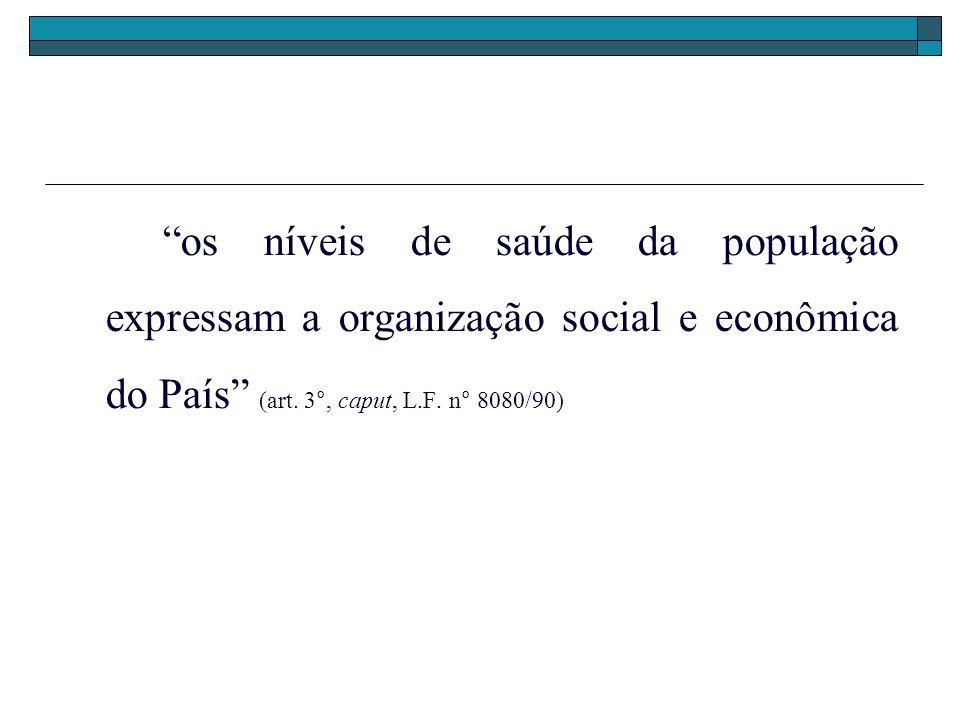 os níveis de saúde da população expressam a organização social e econômica do País (art. 3°, caput, L.F. n° 8080/90)