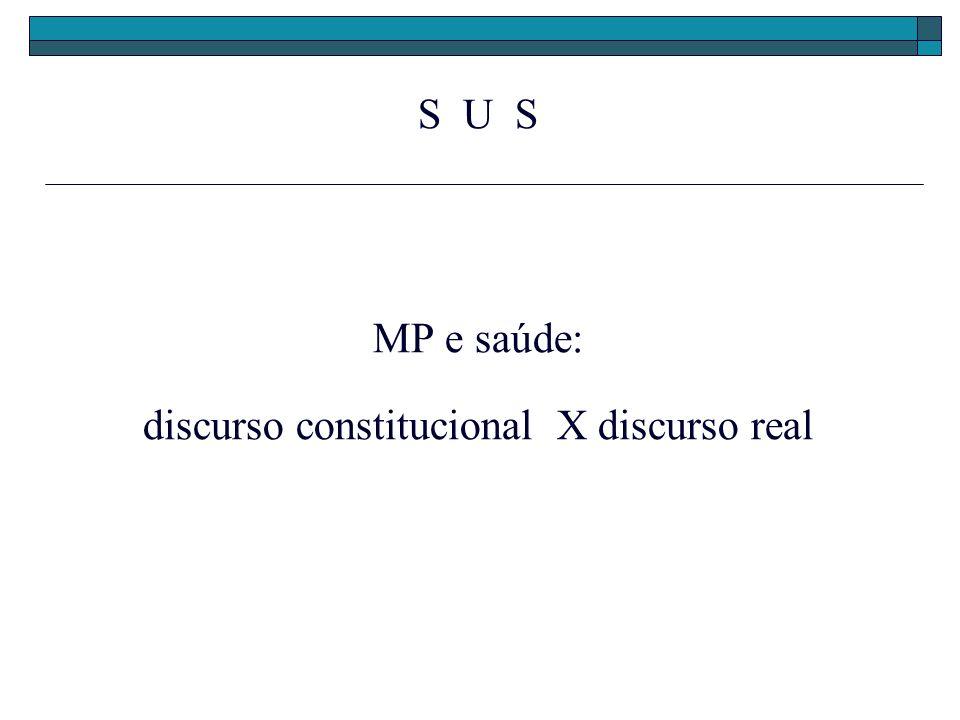S U S MP e saúde: discurso constitucional X discurso real