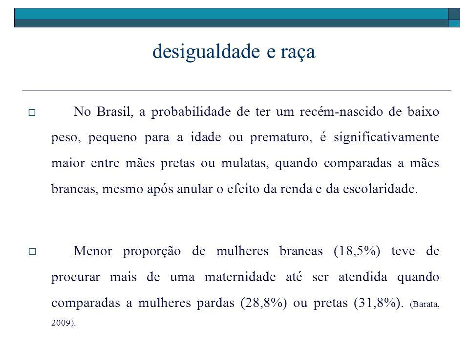 desigualdade e raça No Brasil, a probabilidade de ter um recém-nascido de baixo peso, pequeno para a idade ou prematuro, é significativamente maior en