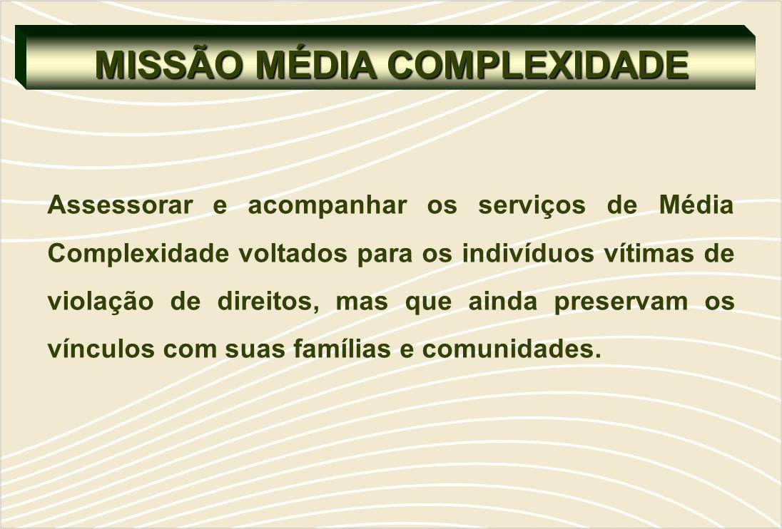 MISSÃO MÉDIA COMPLEXIDADE Assessorar e acompanhar os serviços de Média Complexidade voltados para os indivíduos vítimas de violação de direitos, mas que ainda preservam os vínculos com suas famílias e comunidades.