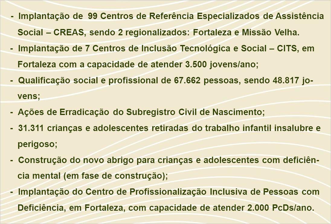 - Implantação de 99 Centros de Referência Especializados de Assistência Social – CREAS, sendo 2 regionalizados: Fortaleza e Missão Velha.