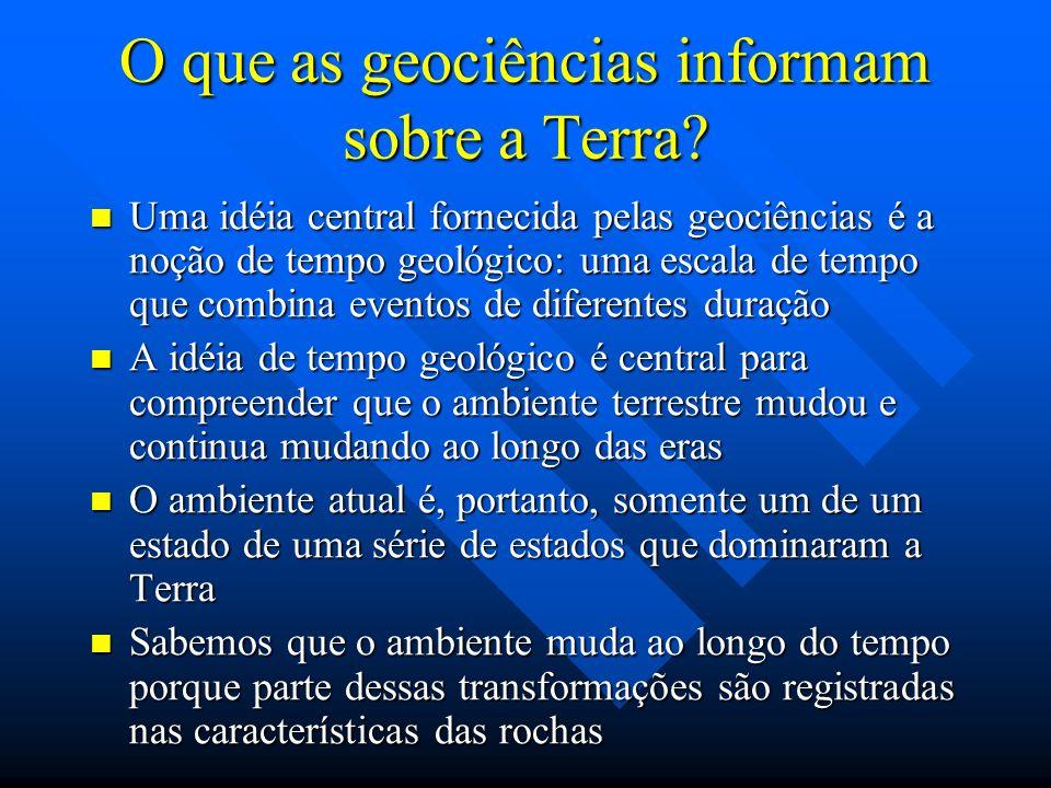 O que as geociências informam sobre a Terra? Uma idéia central fornecida pelas geociências é a noção de tempo geológico: uma escala de tempo que combi