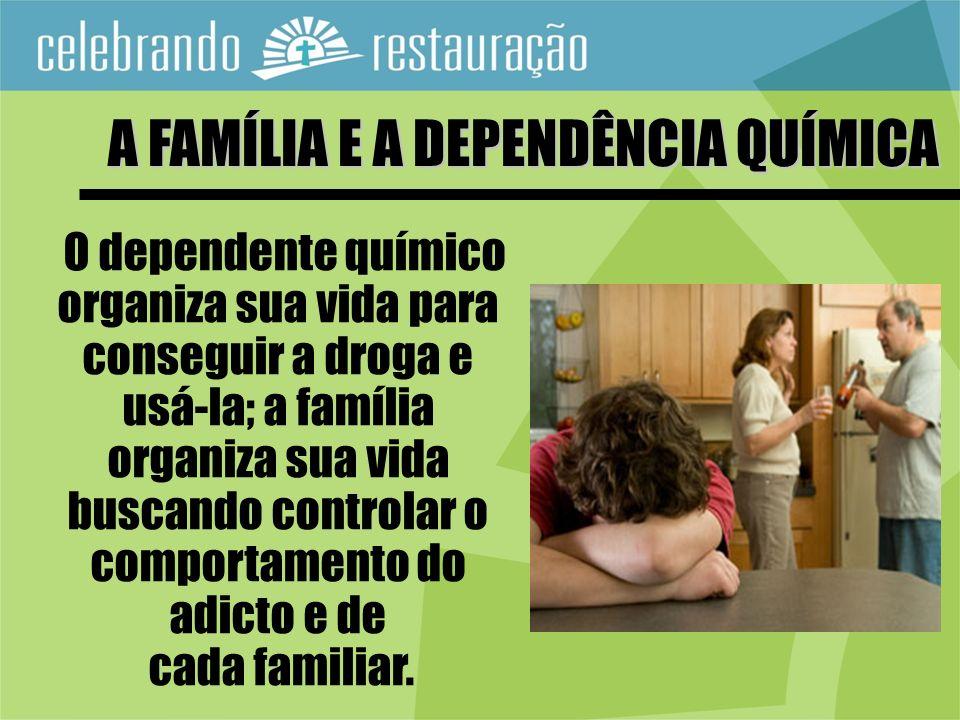 O dependente químico organiza sua vida para conseguir a droga e usá-la; a família organiza sua vida buscando controlar o comportamento do adicto e de