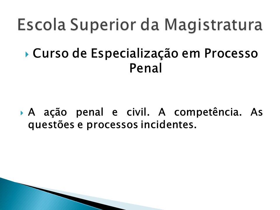 Curso de Especialização em Processo Penal A ação penal e civil. A competência. As questões e processos incidentes.
