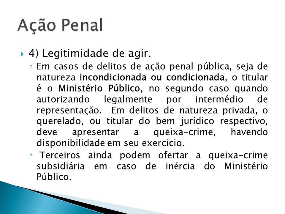 4) Legitimidade de agir. Em casos de delitos de ação penal pública, seja de natureza incondicionada ou condicionada, o titular é o Ministério Público,