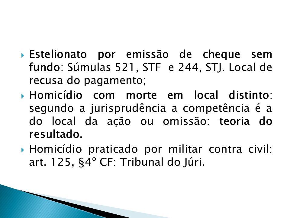 Estelionato por emissão de cheque sem fundo: Súmulas 521, STF e 244, STJ. Local de recusa do pagamento; Homicídio com morte em local distinto: segundo