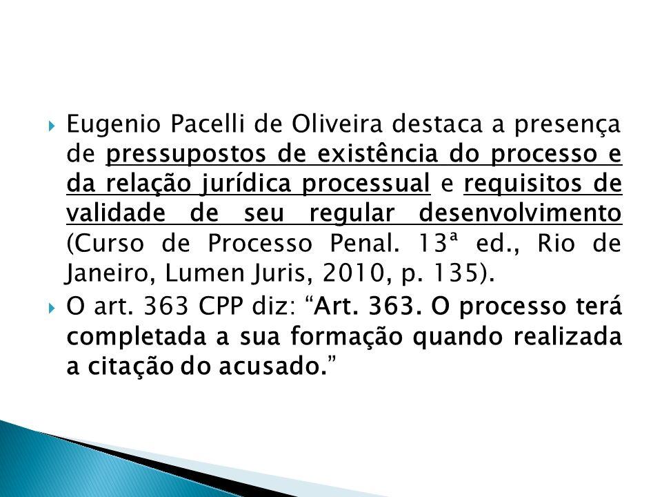 Eugenio Pacelli de Oliveira destaca a presença de pressupostos de existência do processo e da relação jurídica processual e requisitos de validade de