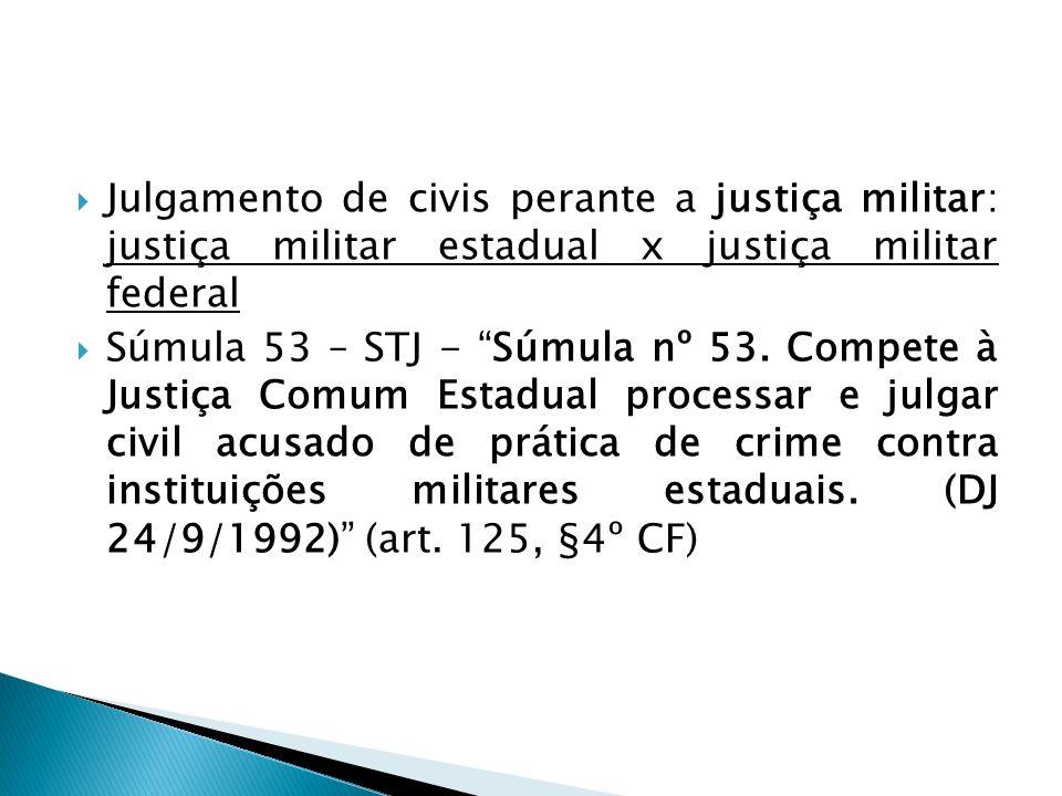 Julgamento de civis perante a justiça militar: justiça militar estadual x justiça militar federal Súmula 53 – STJ - Súmula nº 53. Compete à Justiça Co