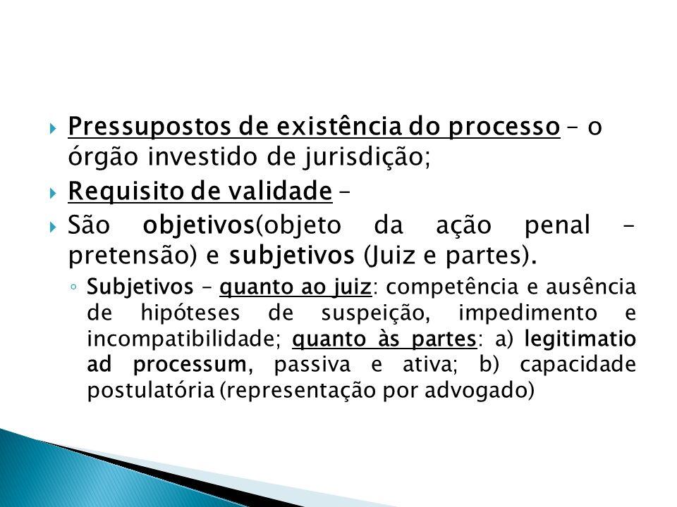 Pressupostos de existência do processo – o órgão investido de jurisdição; Requisito de validade – São objetivos(objeto da ação penal – pretensão) e su