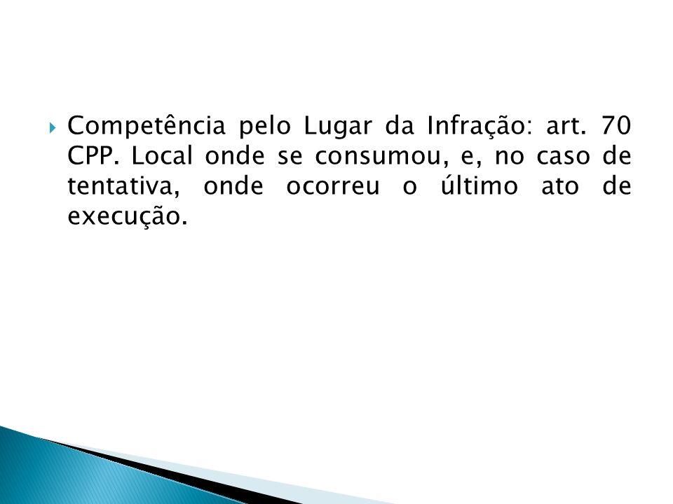 Competência pelo Lugar da Infração: art. 70 CPP. Local onde se consumou, e, no caso de tentativa, onde ocorreu o último ato de execução.