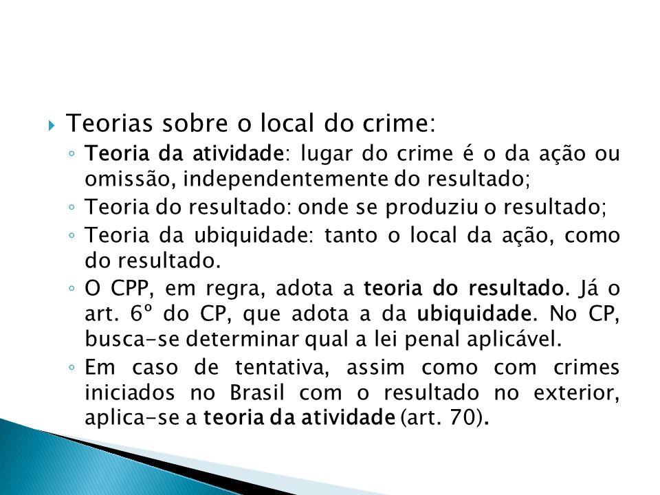 Teorias sobre o local do crime: Teoria da atividade: lugar do crime é o da ação ou omissão, independentemente do resultado; Teoria do resultado: onde