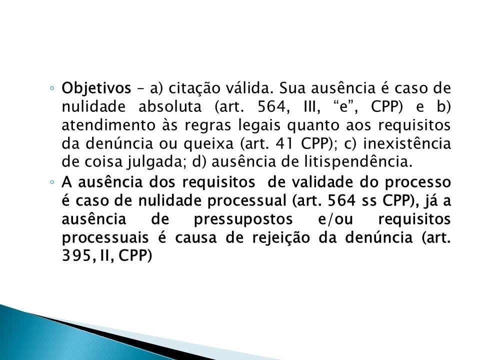 Objetivos – a) citação válida. Sua ausência é caso de nulidade absoluta (art. 564, III, e, CPP) e b) atendimento às regras legais quanto aos requisito