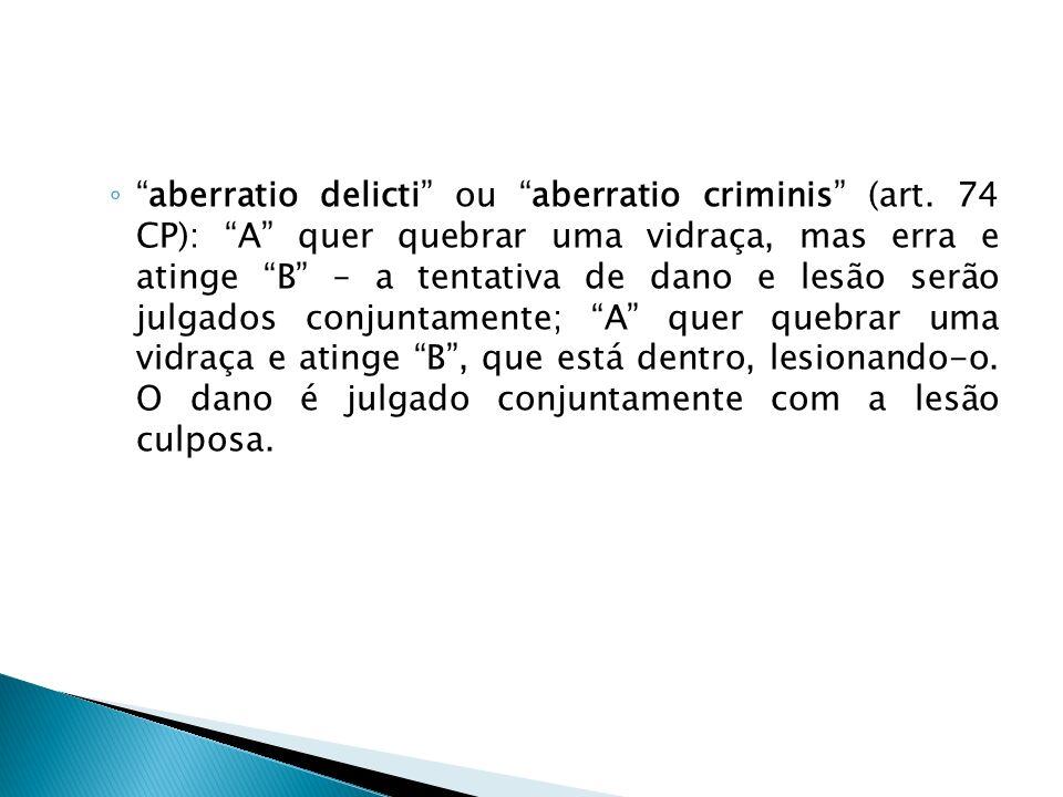 aberratio delicti ou aberratio criminis (art. 74 CP): A quer quebrar uma vidraça, mas erra e atinge B – a tentativa de dano e lesão serão julgados con