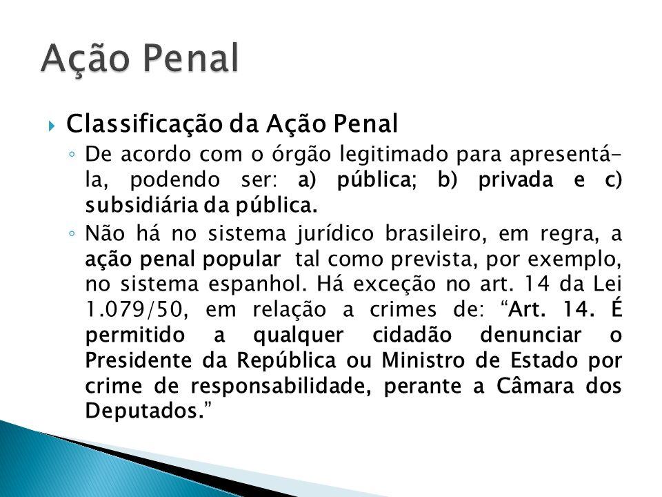 Classificação da Ação Penal De acordo com o órgão legitimado para apresentá- la, podendo ser: a) pública; b) privada e c) subsidiária da pública. Não