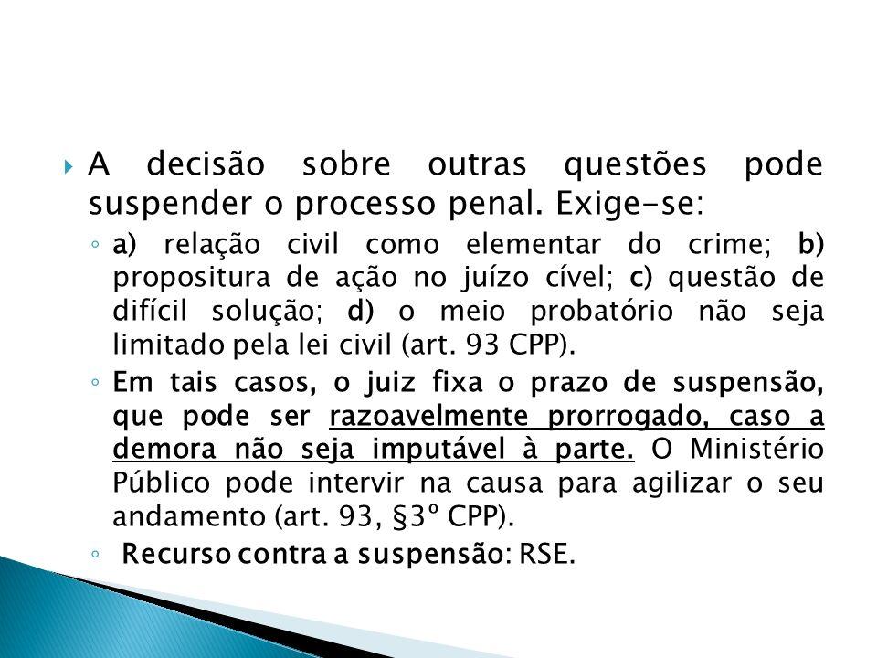 A decisão sobre outras questões pode suspender o processo penal. Exige-se: a) relação civil como elementar do crime; b) propositura de ação no juízo c