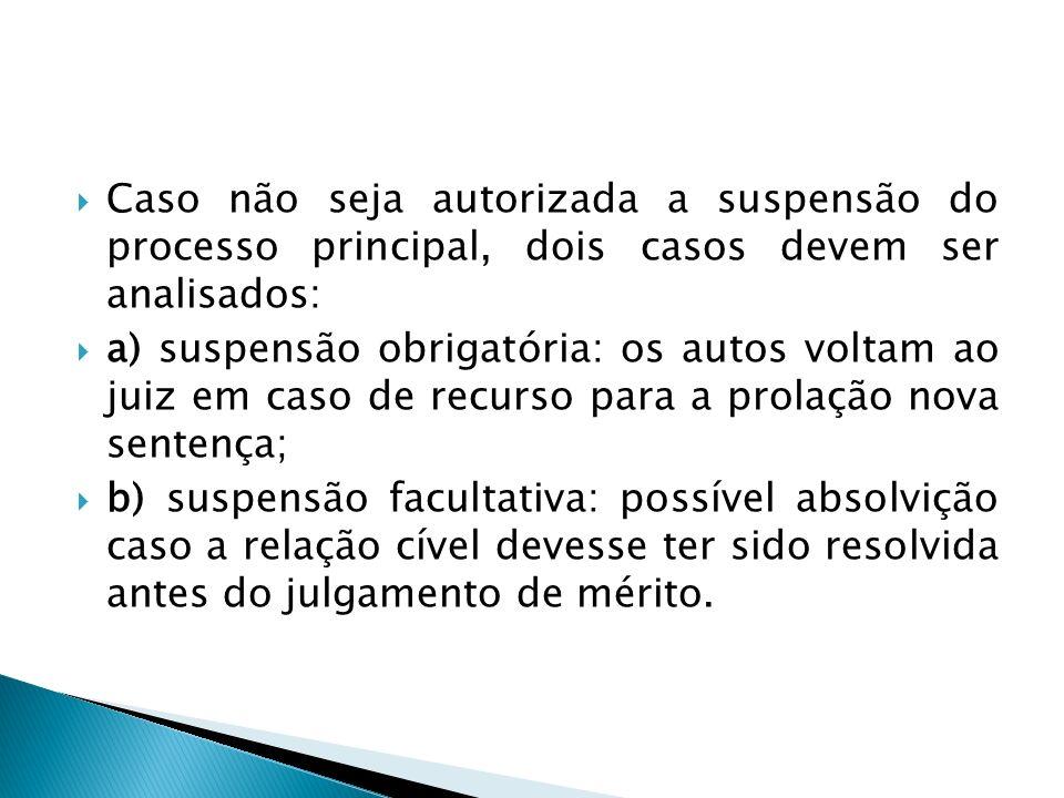 Caso não seja autorizada a suspensão do processo principal, dois casos devem ser analisados: a) suspensão obrigatória: os autos voltam ao juiz em caso
