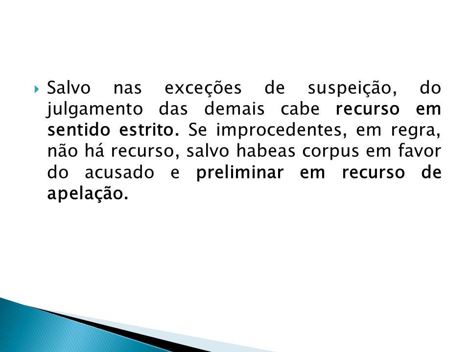 Salvo nas exceções de suspeição, do julgamento das demais cabe recurso em sentido estrito. Se improcedentes, em regra, não há recurso, salvo habeas co