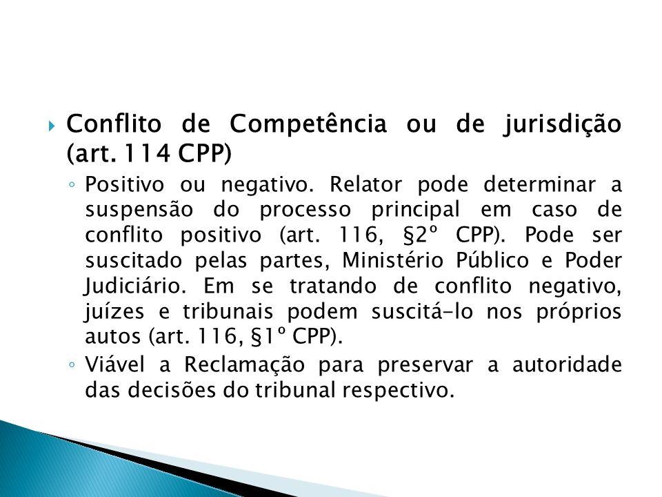 Conflito de Competência ou de jurisdição (art. 114 CPP) Positivo ou negativo. Relator pode determinar a suspensão do processo principal em caso de con