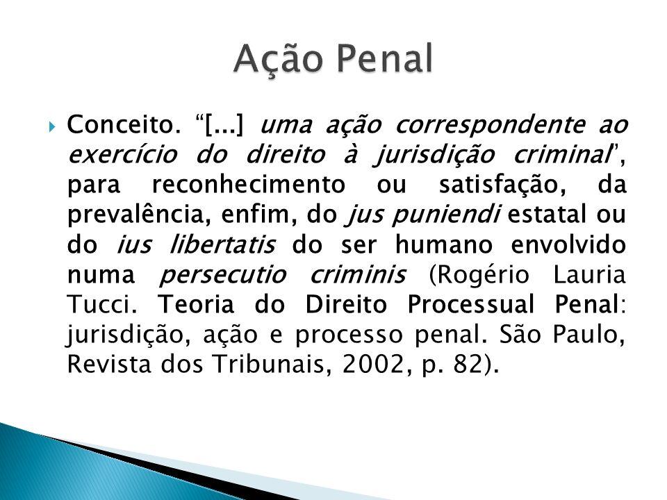 Conceito. [...] uma ação correspondente ao exercício do direito à jurisdição criminal, para reconhecimento ou satisfação, da prevalência, enfim, do ju