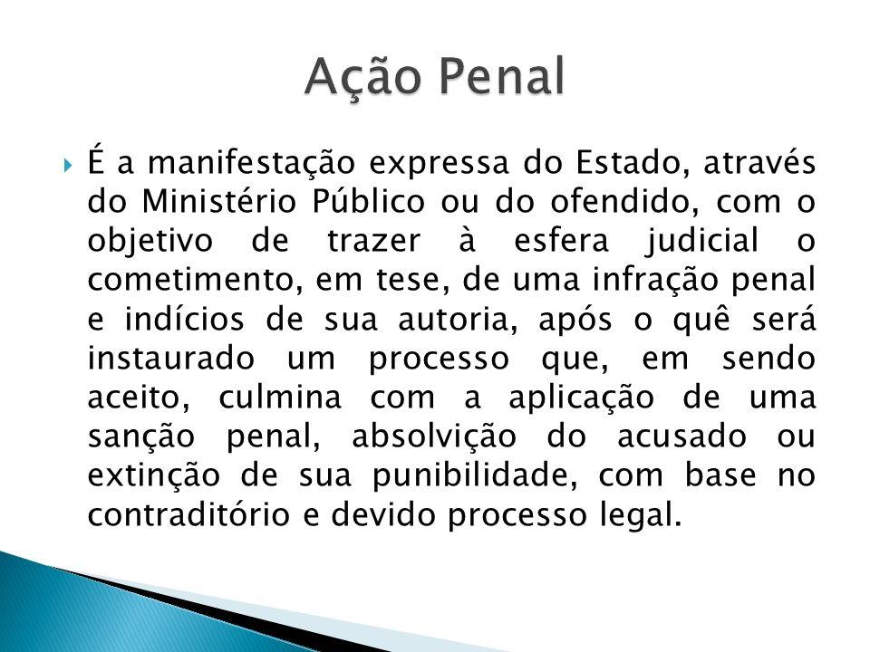 Classificação da Ação Penal De acordo com o órgão legitimado para apresentá- la, podendo ser: a) pública; b) privada e c) subsidiária da pública.