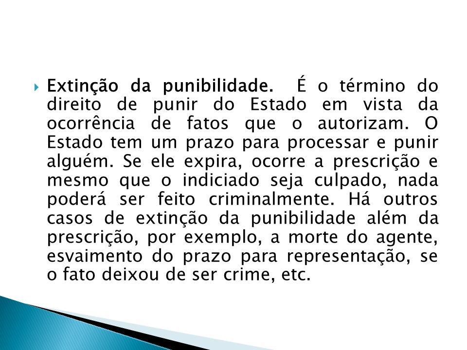 Extinção da punibilidade. É o término do direito de punir do Estado em vista da ocorrência de fatos que o autorizam. O Estado tem um prazo para proces