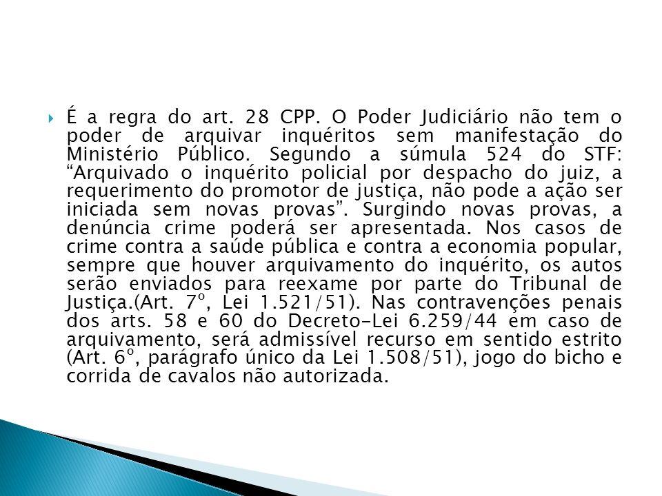 É a regra do art. 28 CPP. O Poder Judiciário não tem o poder de arquivar inquéritos sem manifestação do Ministério Público. Segundo a súmula 524 do ST