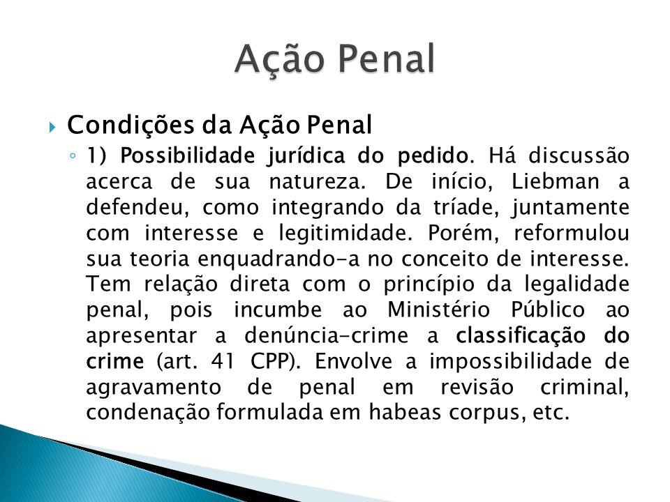 Condições da Ação Penal 1) Possibilidade jurídica do pedido. Há discussão acerca de sua natureza. De início, Liebman a defendeu, como integrando da tr