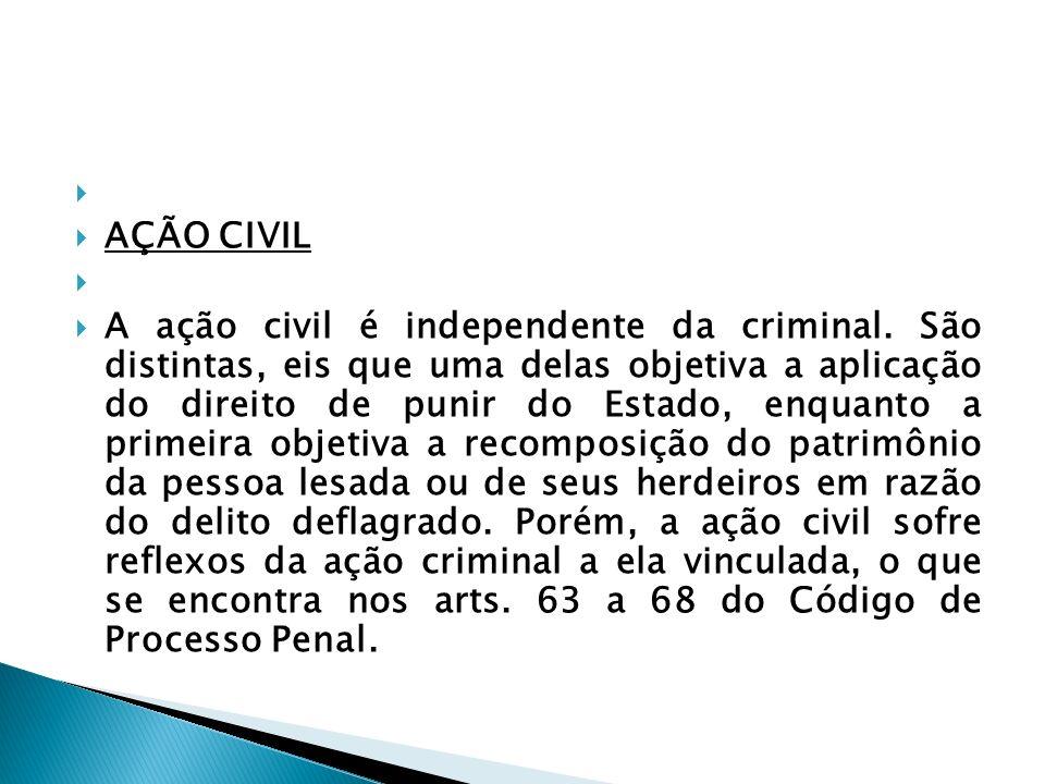 AÇÃO CIVIL A ação civil é independente da criminal. São distintas, eis que uma delas objetiva a aplicação do direito de punir do Estado, enquanto a pr
