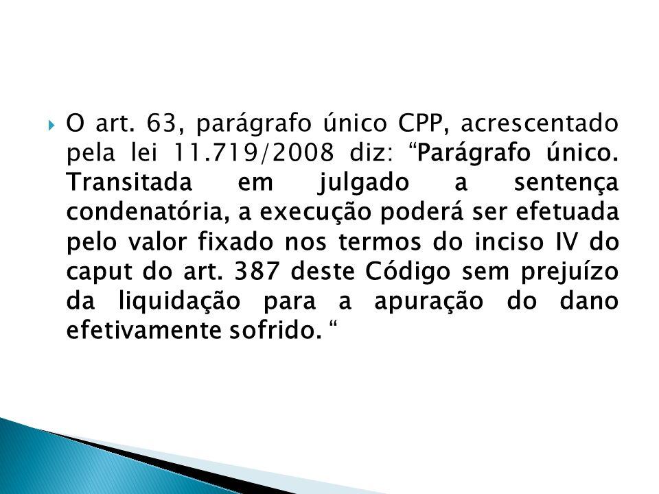 O art. 63, parágrafo único CPP, acrescentado pela lei 11.719/2008 diz: Parágrafo único. Transitada em julgado a sentença condenatória, a execução pode