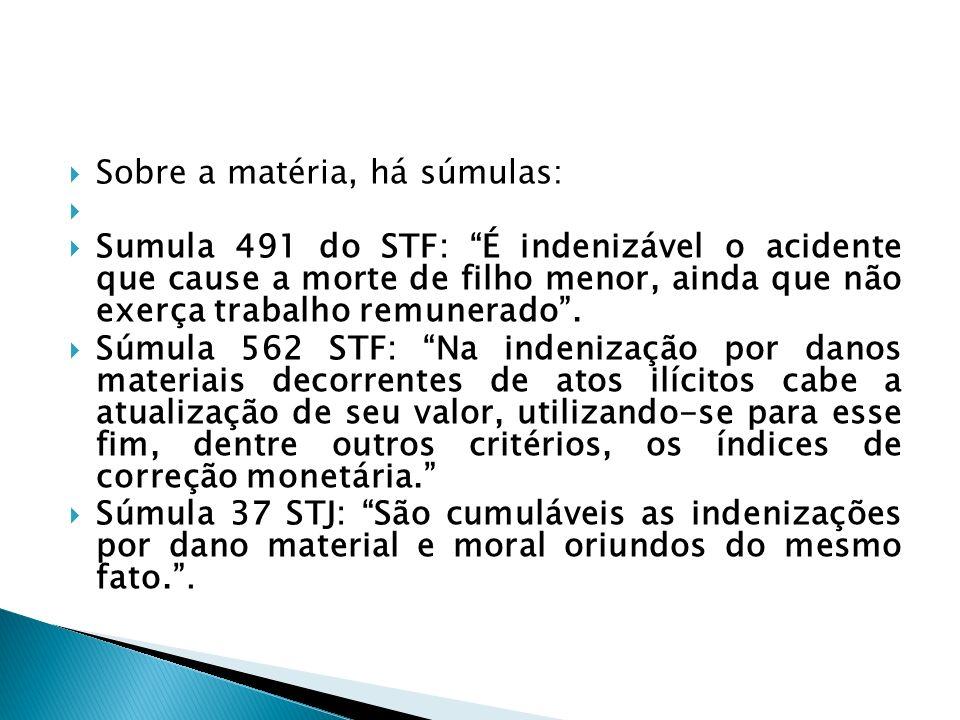 Sobre a matéria, há súmulas: Sumula 491 do STF: É indenizável o acidente que cause a morte de filho menor, ainda que não exerça trabalho remunerado. S