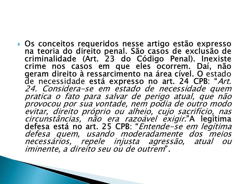 Os conceitos requeridos nesse artigo estão expresso na teoria do direito penal. São casos de exclusão de criminalidade (Art. 23 do Código Penal). Inex
