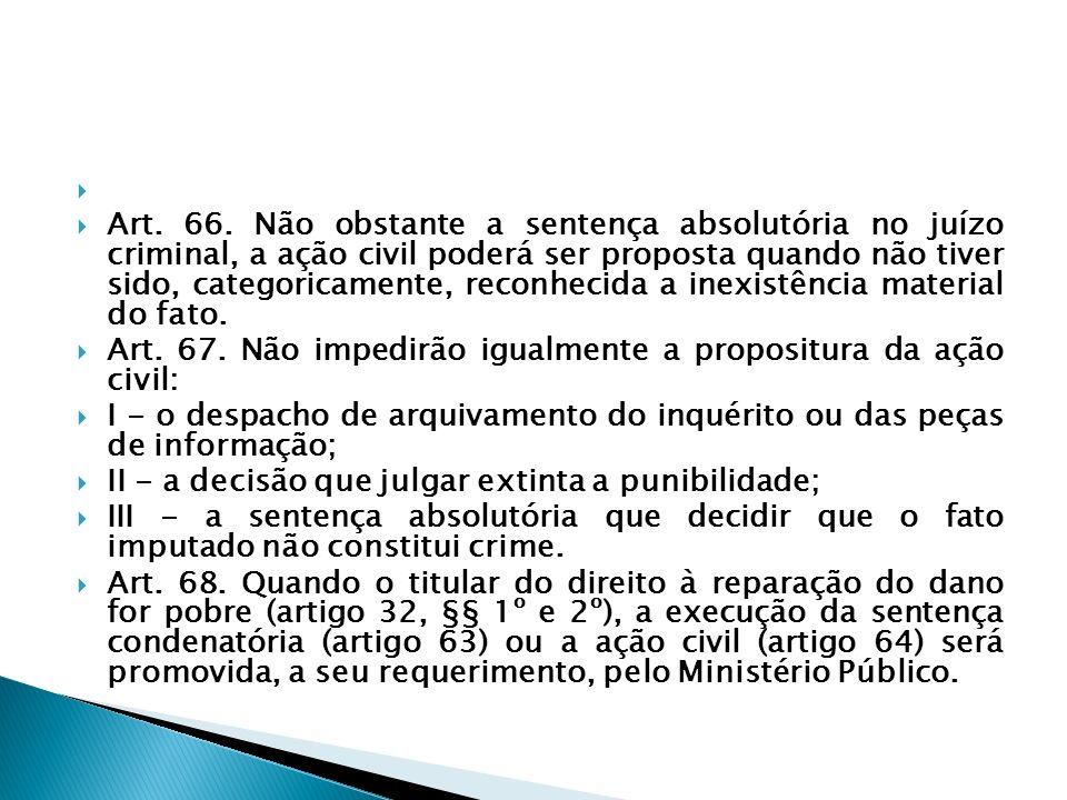 Art. 66. Não obstante a sentença absolutória no juízo criminal, a ação civil poderá ser proposta quando não tiver sido, categoricamente, reconhecida a
