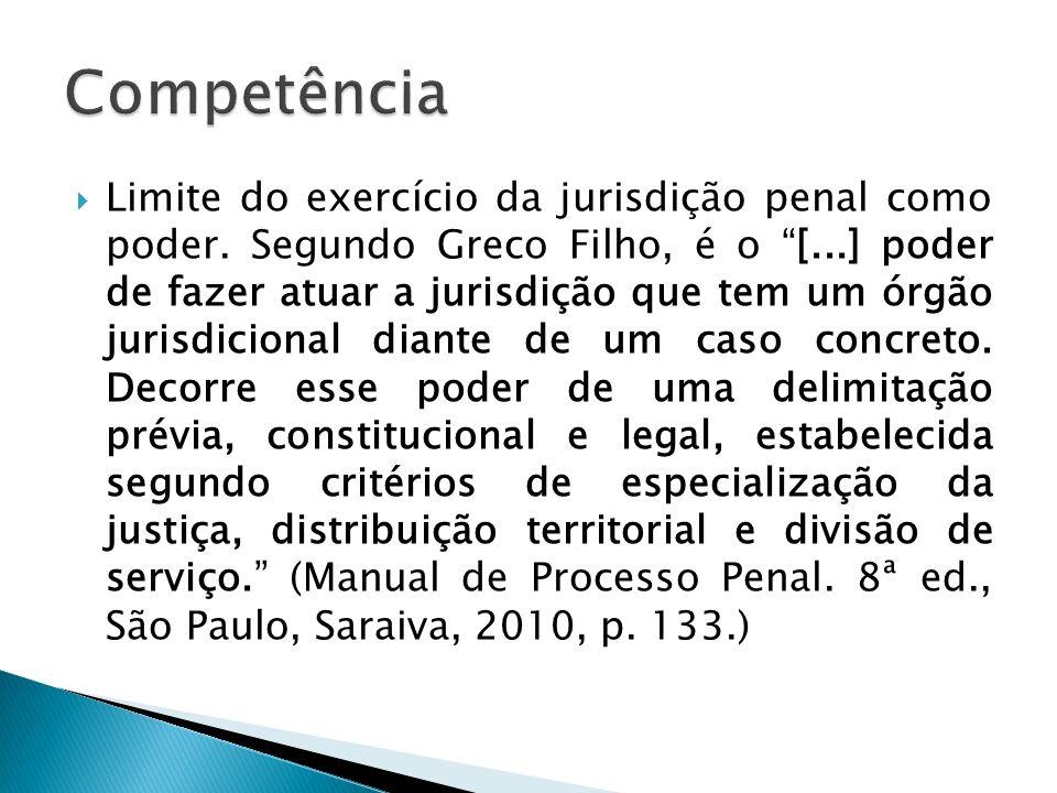 Limite do exercício da jurisdição penal como poder. Segundo Greco Filho, é o [...] poder de fazer atuar a jurisdição que tem um órgão jurisdicional di