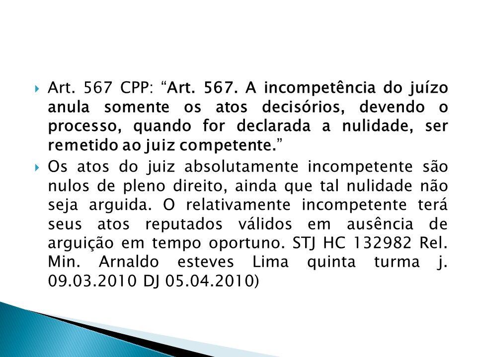 Art. 567 CPP: Art. 567. A incompetência do juízo anula somente os atos decisórios, devendo o processo, quando for declarada a nulidade, ser remetido a