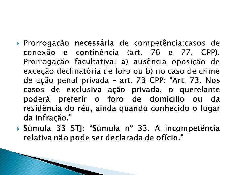 Prorrogação necessária de competência:casos de conexão e continência (art. 76 e 77, CPP). Prorrogação facultativa: a) ausência oposição de exceção dec