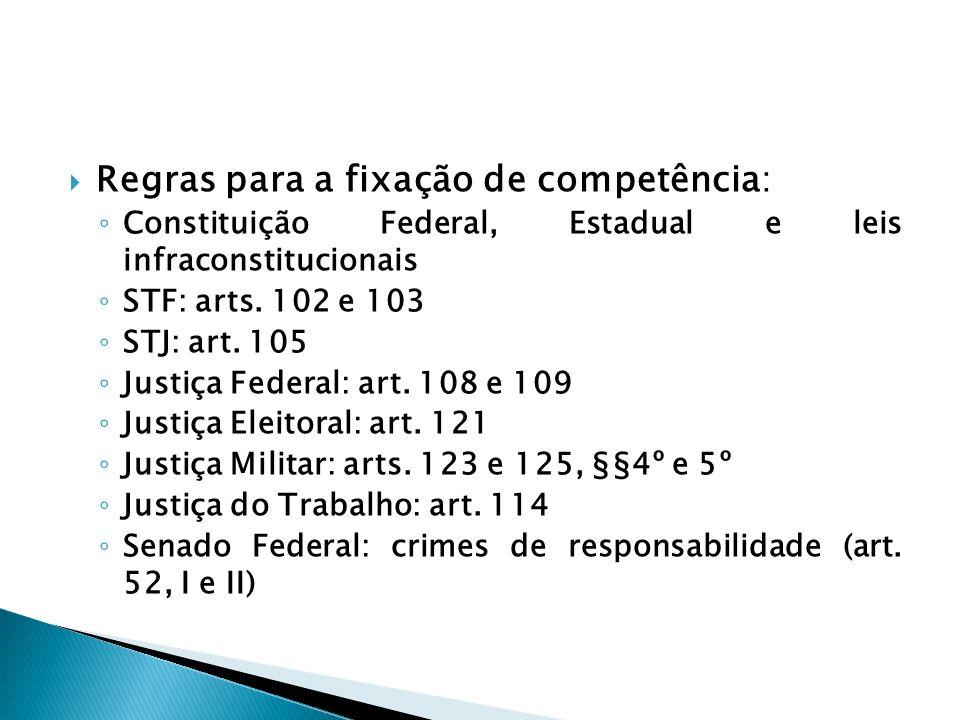 Regras para a fixação de competência: Constituição Federal, Estadual e leis infraconstitucionais STF: arts. 102 e 103 STJ: art. 105 Justiça Federal: a