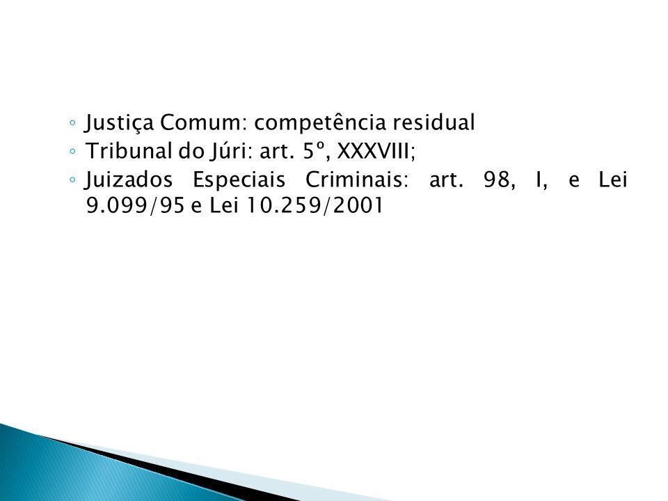 Justiça Comum: competência residual Tribunal do Júri: art. 5º, XXXVIII; Juizados Especiais Criminais: art. 98, I, e Lei 9.099/95 e Lei 10.259/2001